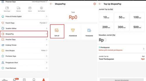 Beberapa Opsi Cara Top Up ShopeePay